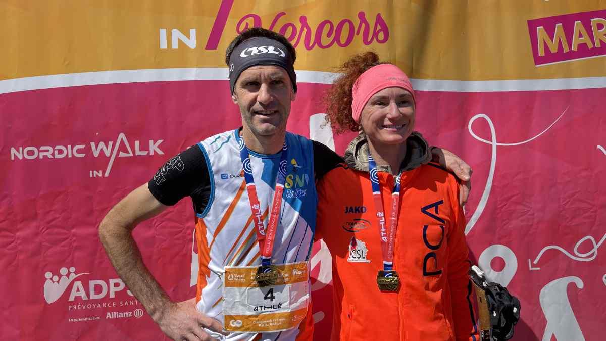 Christiane Salvi et Christophe Rey sacrés champion de France marche nordique