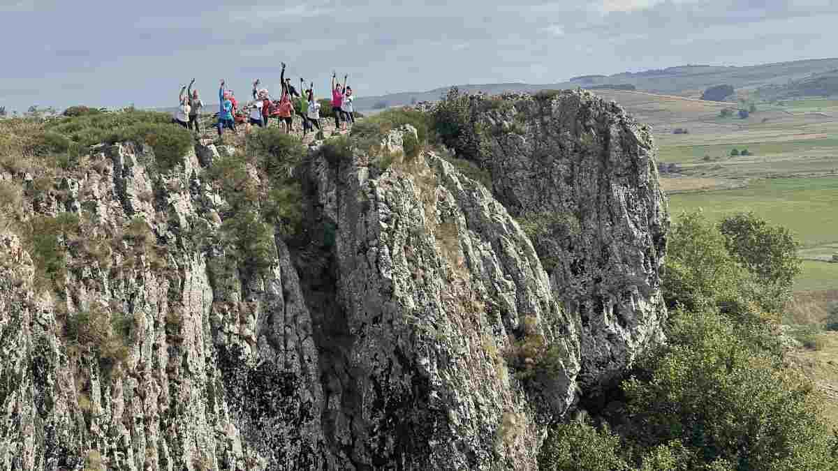 Le groupe à la cascade du Déroc