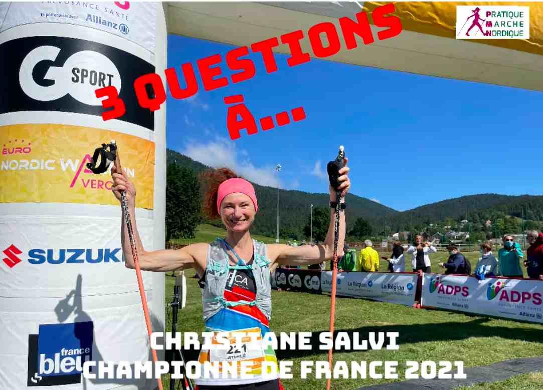 Christiane Salvi à l'arrivée des Championnats de France